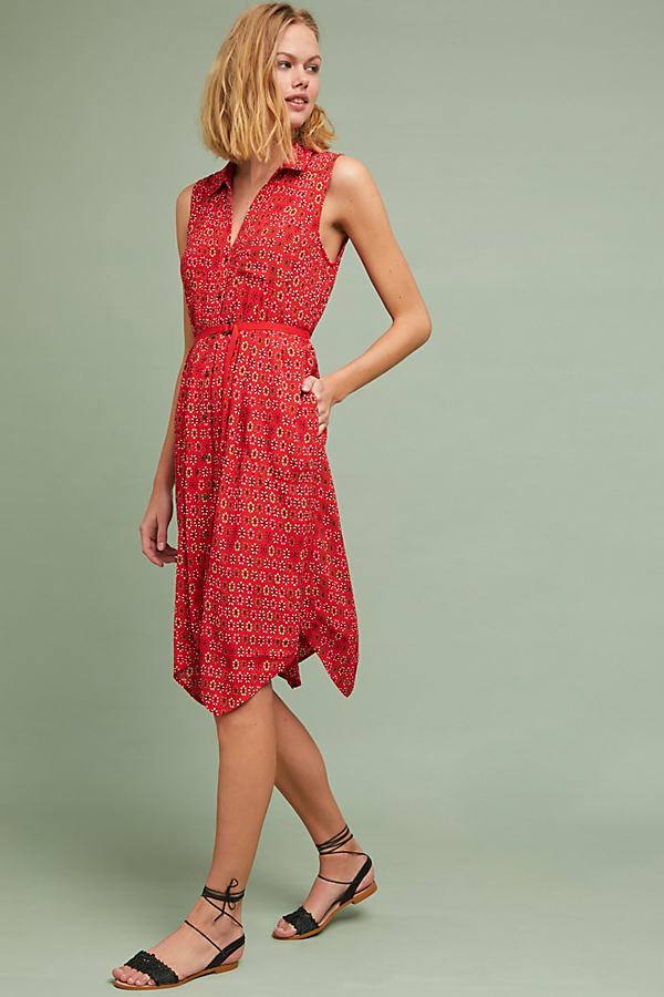 Vicki Floral-Print Shirtdress - Red Motif