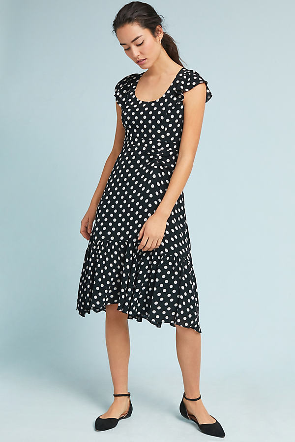 Gathered Polka Dot Dress - Black Motif, Size Uk 8