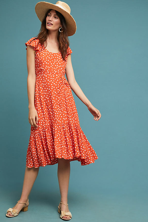 Gathered Polka Dot Dress - Assorted