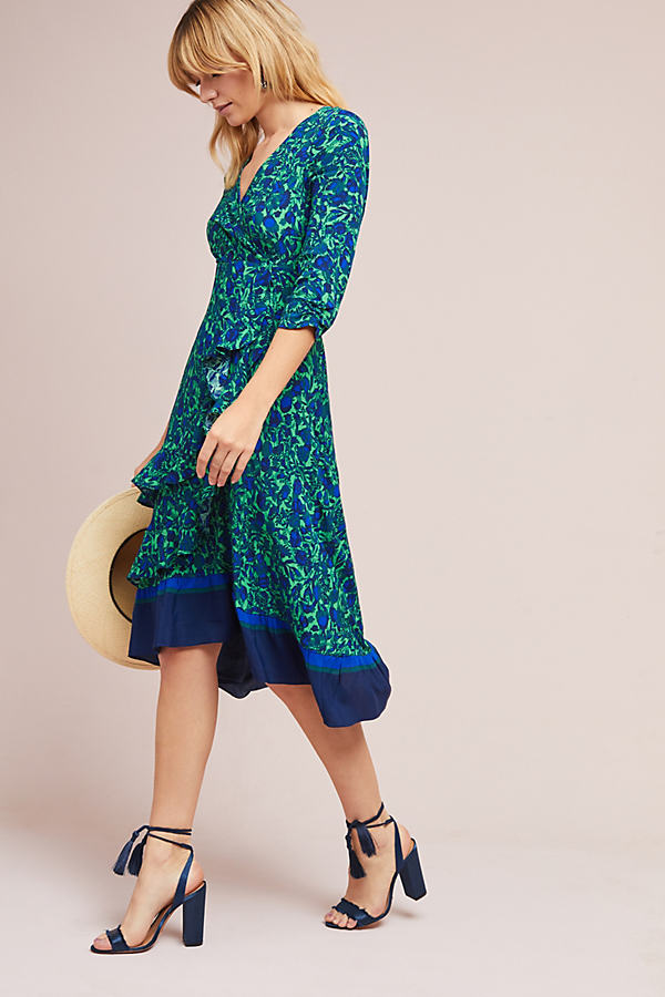 Prunella Floral Ruched Wrap Dress - Blue Motif