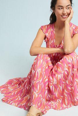 Maeve   Banana Grove Maxi Dress  -    RASPBERRY