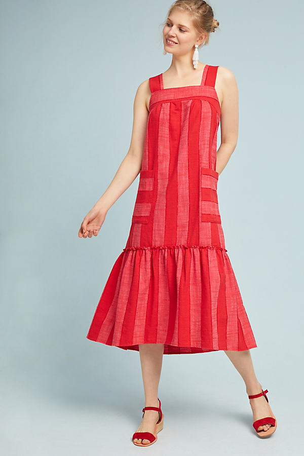 Tonal Striped Dress - Red