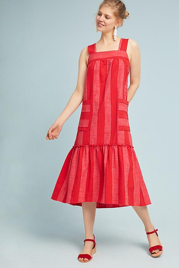 Tonal Striped Dress - Red, Size Xl