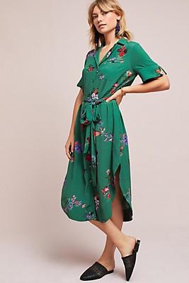 Slide View: 1: Floral Buttondown Shirtdress