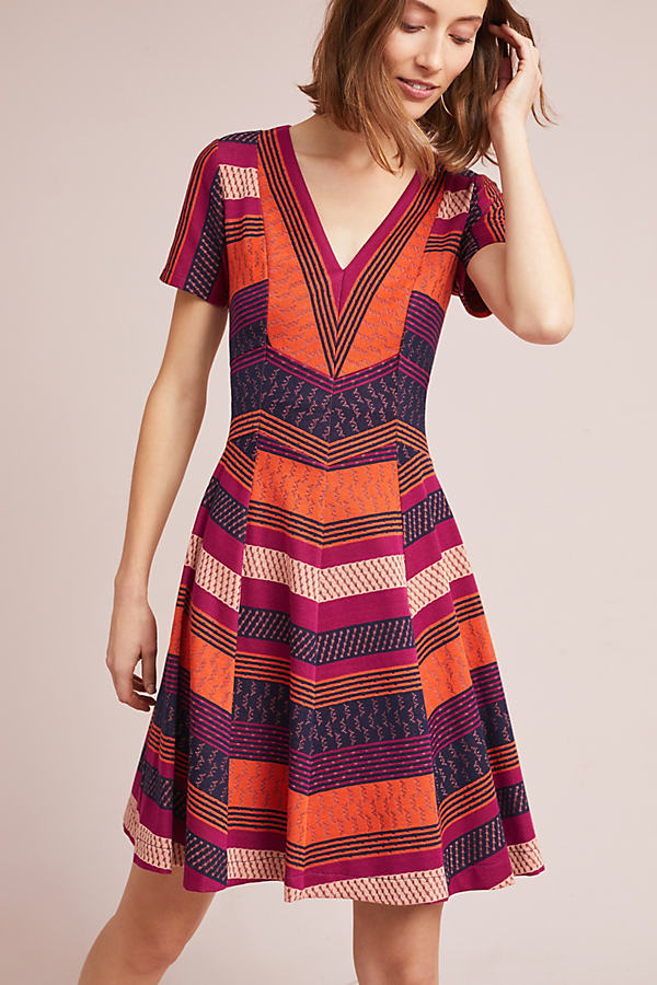 Burbank Striped Dress - Orange Motif, Size Xs