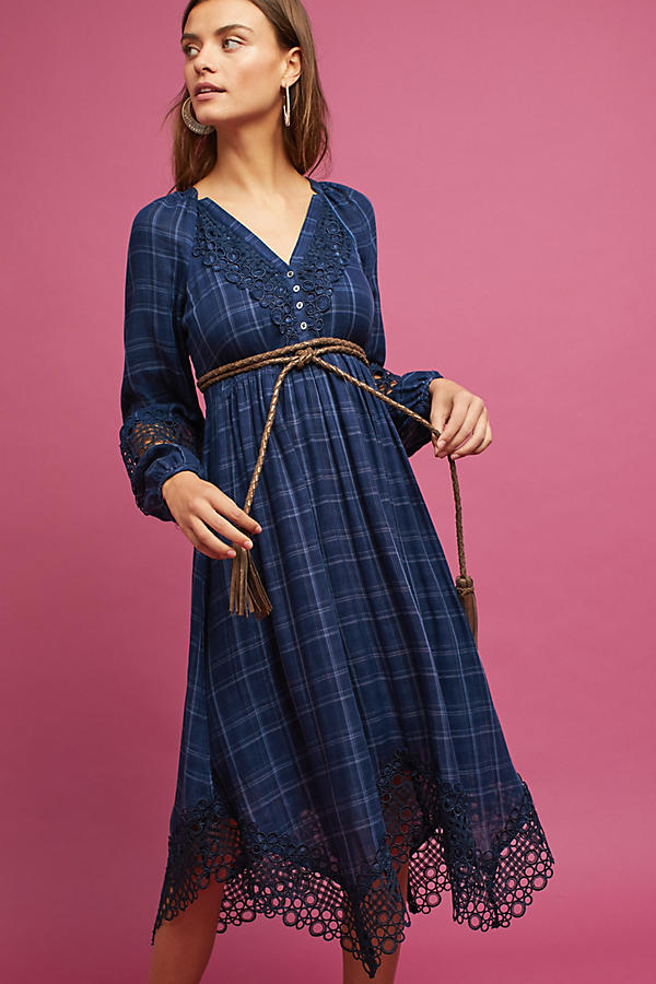 Slide View: 1: Plaid Kerchief Dress