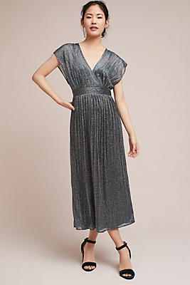Slide View: 1: Pleated Metallic Wrap Dress