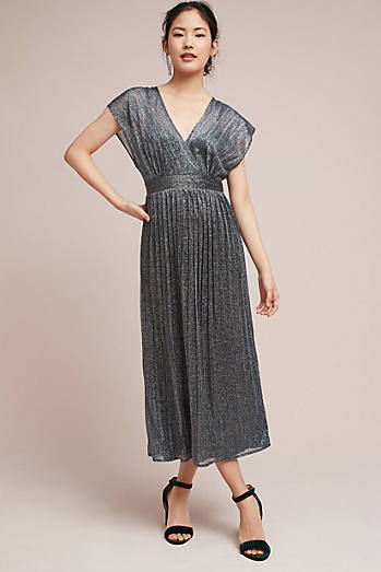 Wedding guest dresses anthropologie pleated metallic wrap dress junglespirit Choice Image