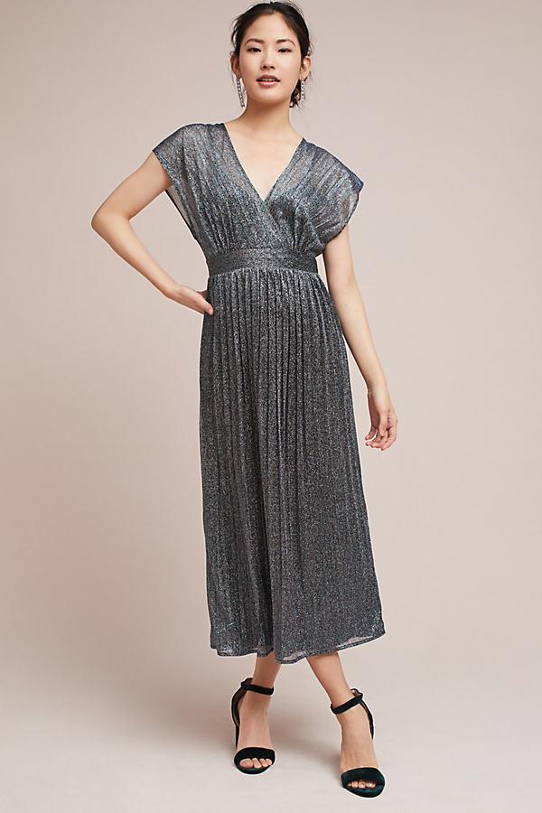 Kylli Pleated Metallic Wrap Dress - Purple, Size Uk 8