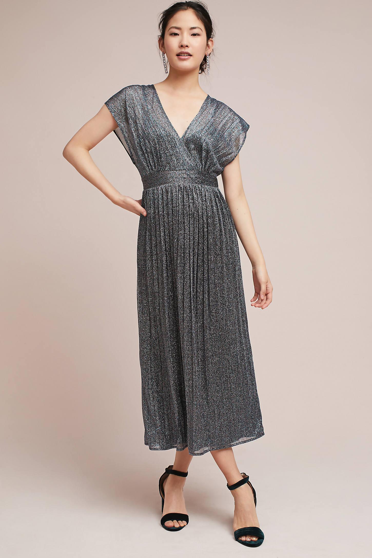 Pleated Metallic Wrap Dress