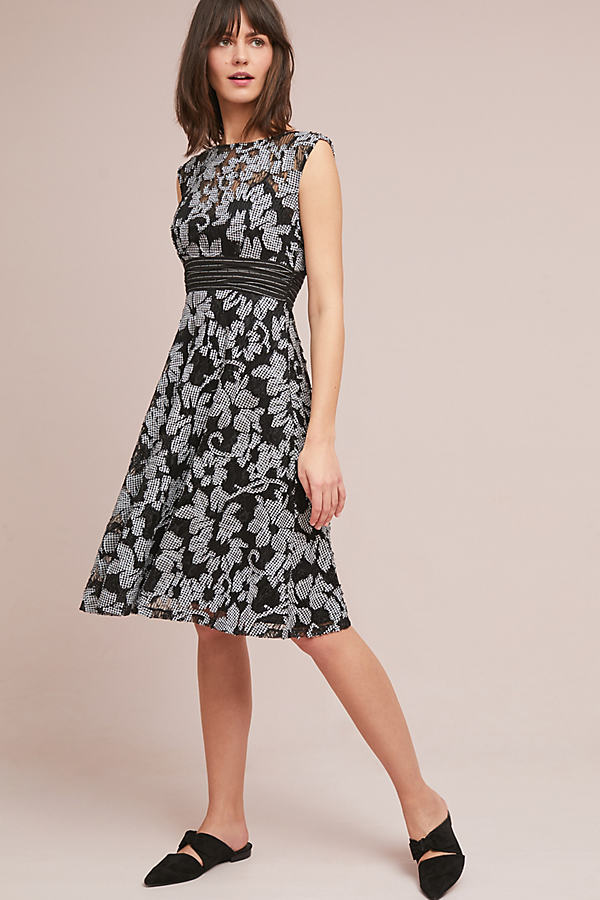 Sommer Floral Dress - Black Motif, Size Uk 8