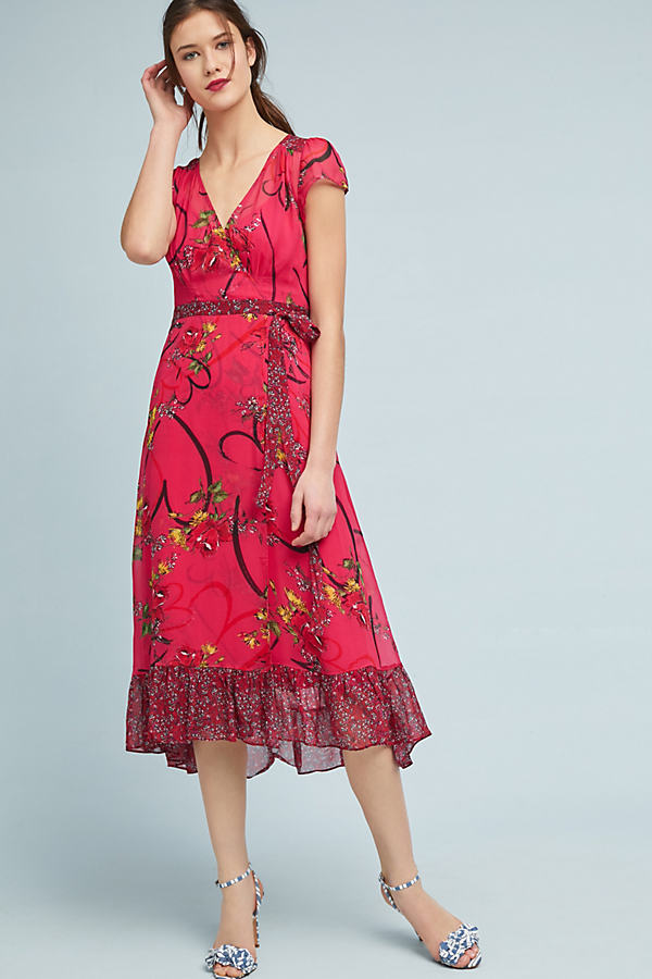 Printed Valentine Wrap Dress - Pink, Size Uk 10
