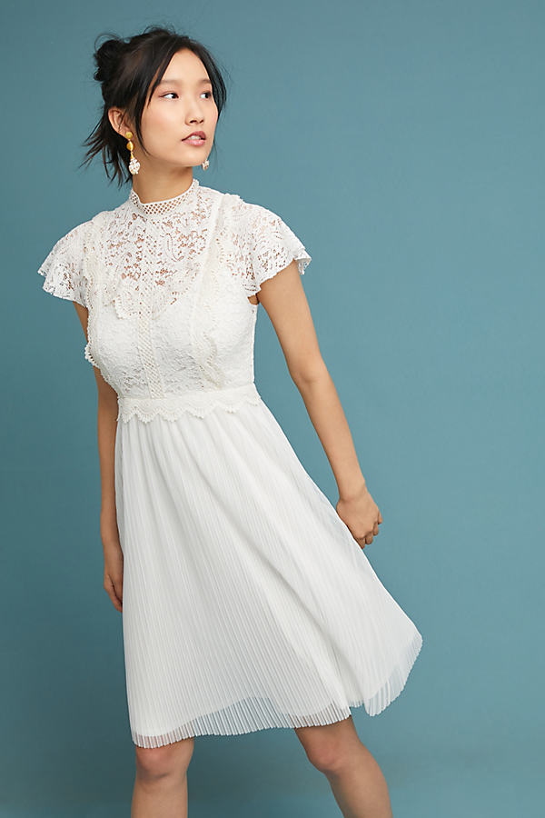 Greenwich Lace Dress - White, Size Uk 16
