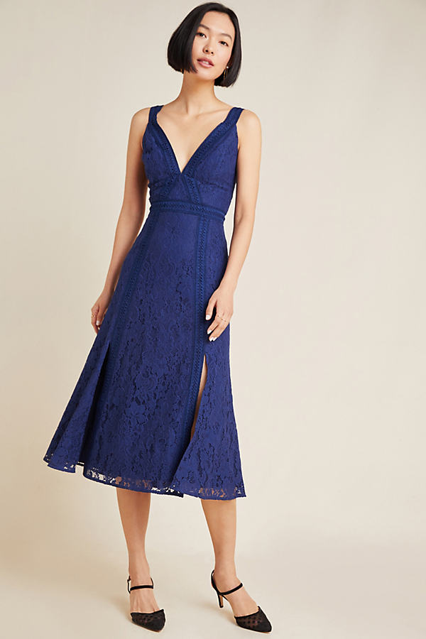 Leticia Embroidered Lace Midi Dress - Blue, Size S