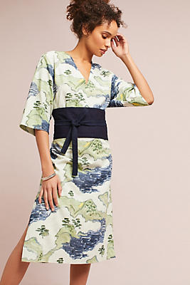 Slide View: 1: WHIT Belted Floral Kimono Dress
