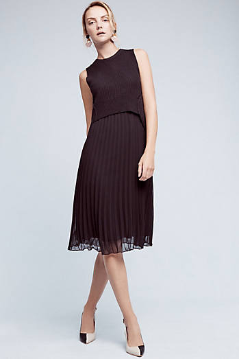 Paloma Pleated Midi Dress, Black