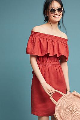 Slide View: 1: Linen Off-The-Shoulder Dress