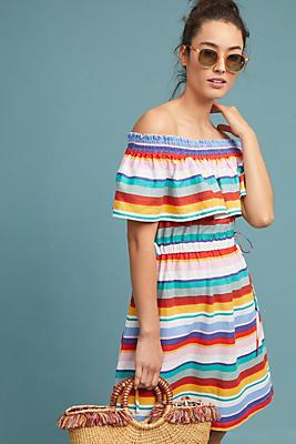 Slide View: 1: Striped Off-The-Shoulder Dress