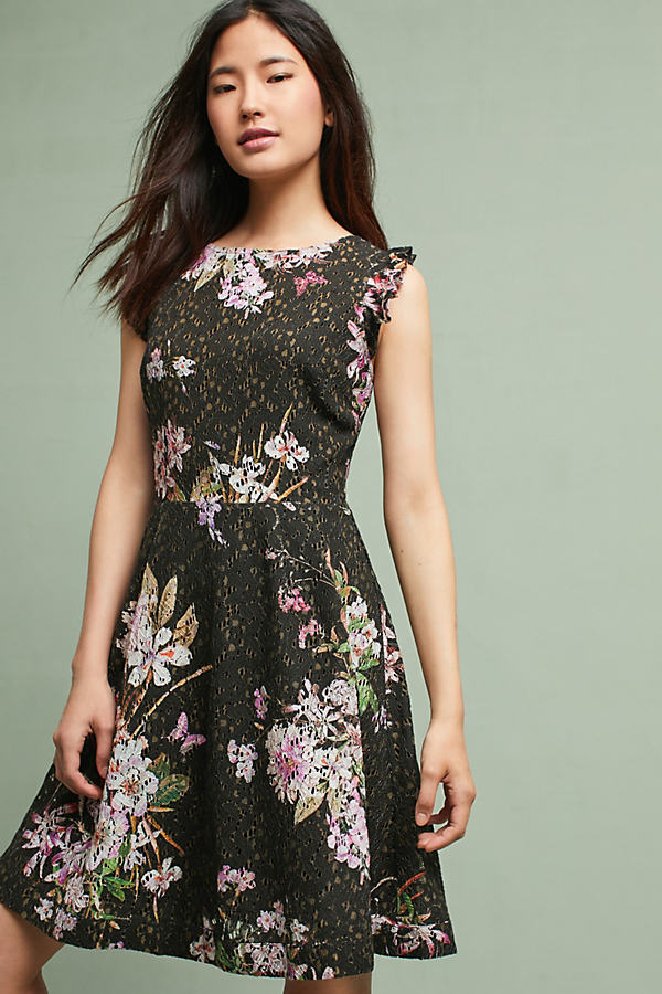 Nevaeh Floral Dress - Black, Size Uk 14