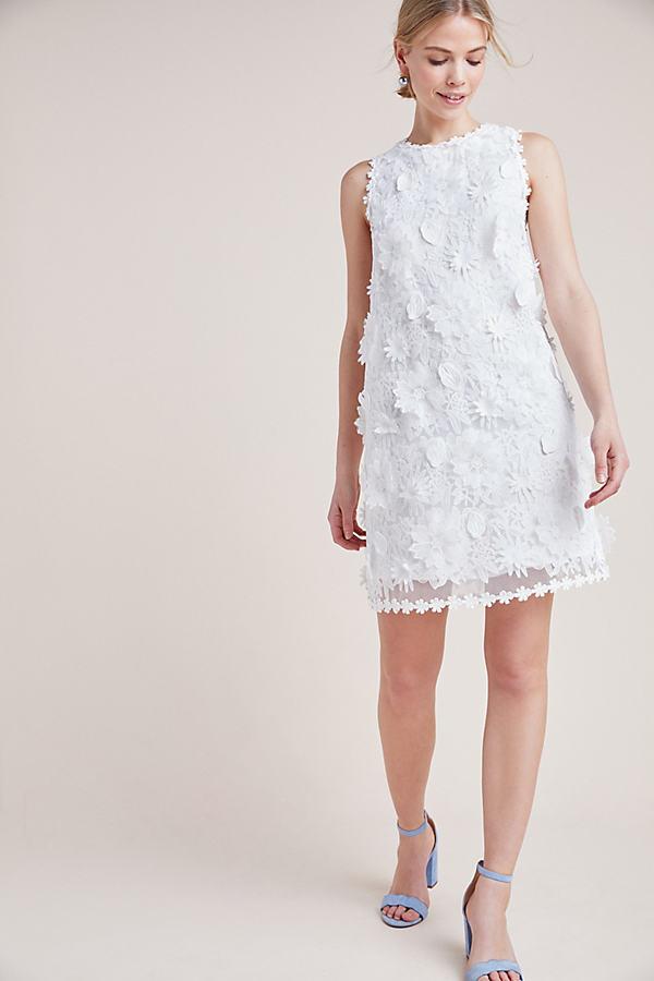 Daisy Lace Shift Dress - White, Size L