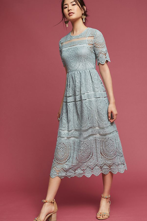 Mint Lace Midi Dress Anthropologie Uk