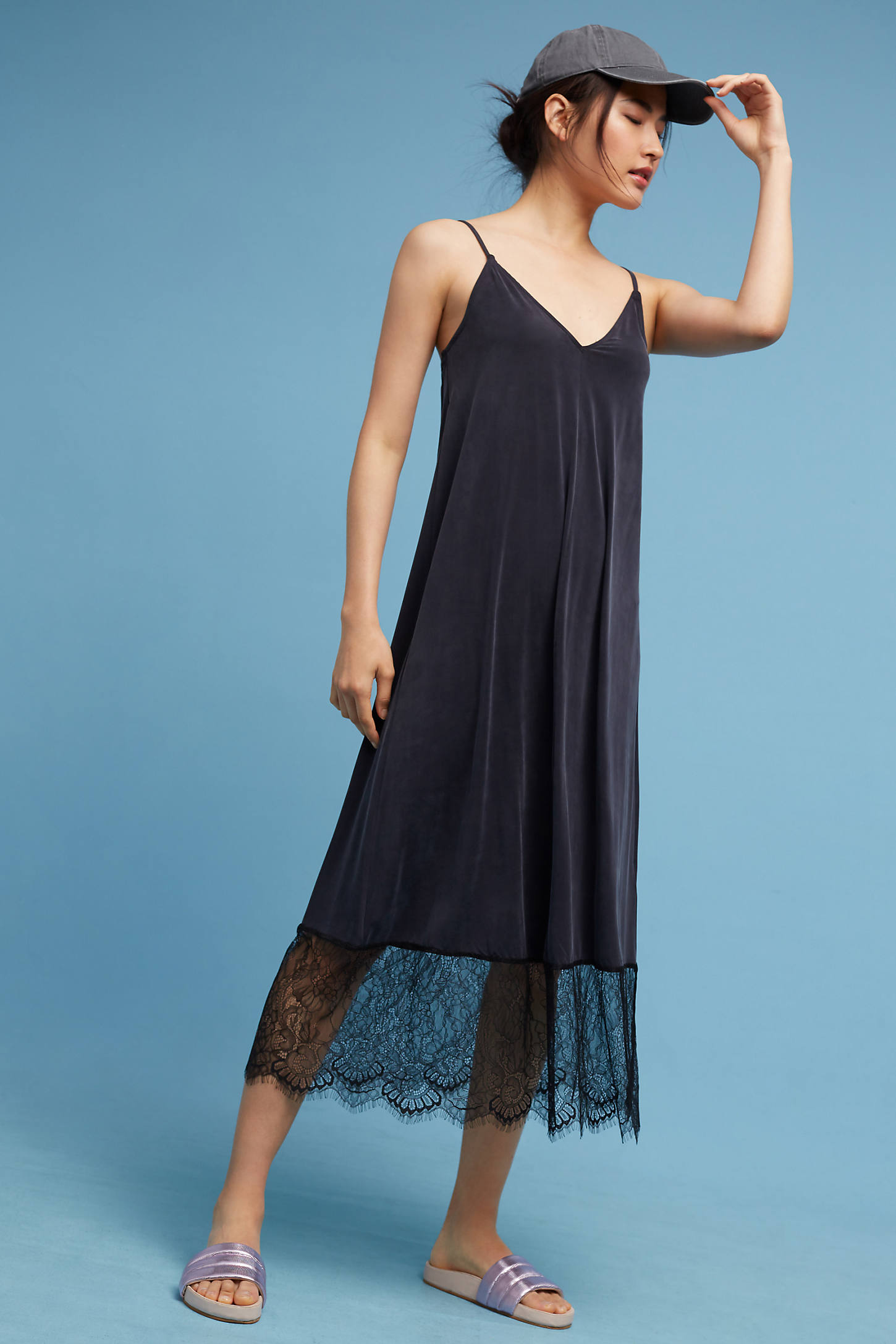 Laced-Hem Slip Dress