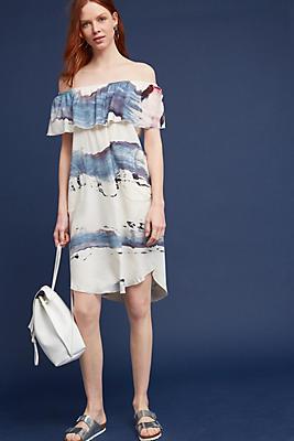 Slide View: 1: Brushstrokes Silk Off-The-Shoulder Dress