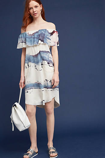 Brushstrokes Silk Off-The-Shoulder Dress