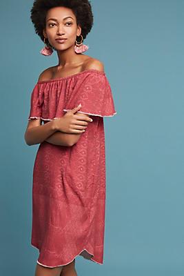 Slide View: 1: Aiyana Off-The-Shoulder Silk Dress
