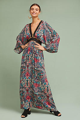 Slide View: 1: Floral Kimono Maxi Dress