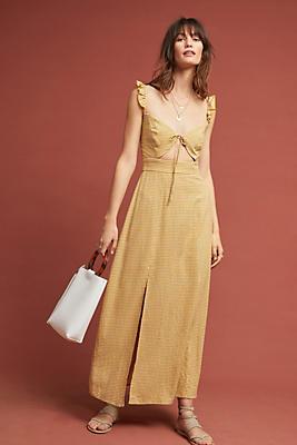 Slide View: 1: Nia Gingham Maxi Dress