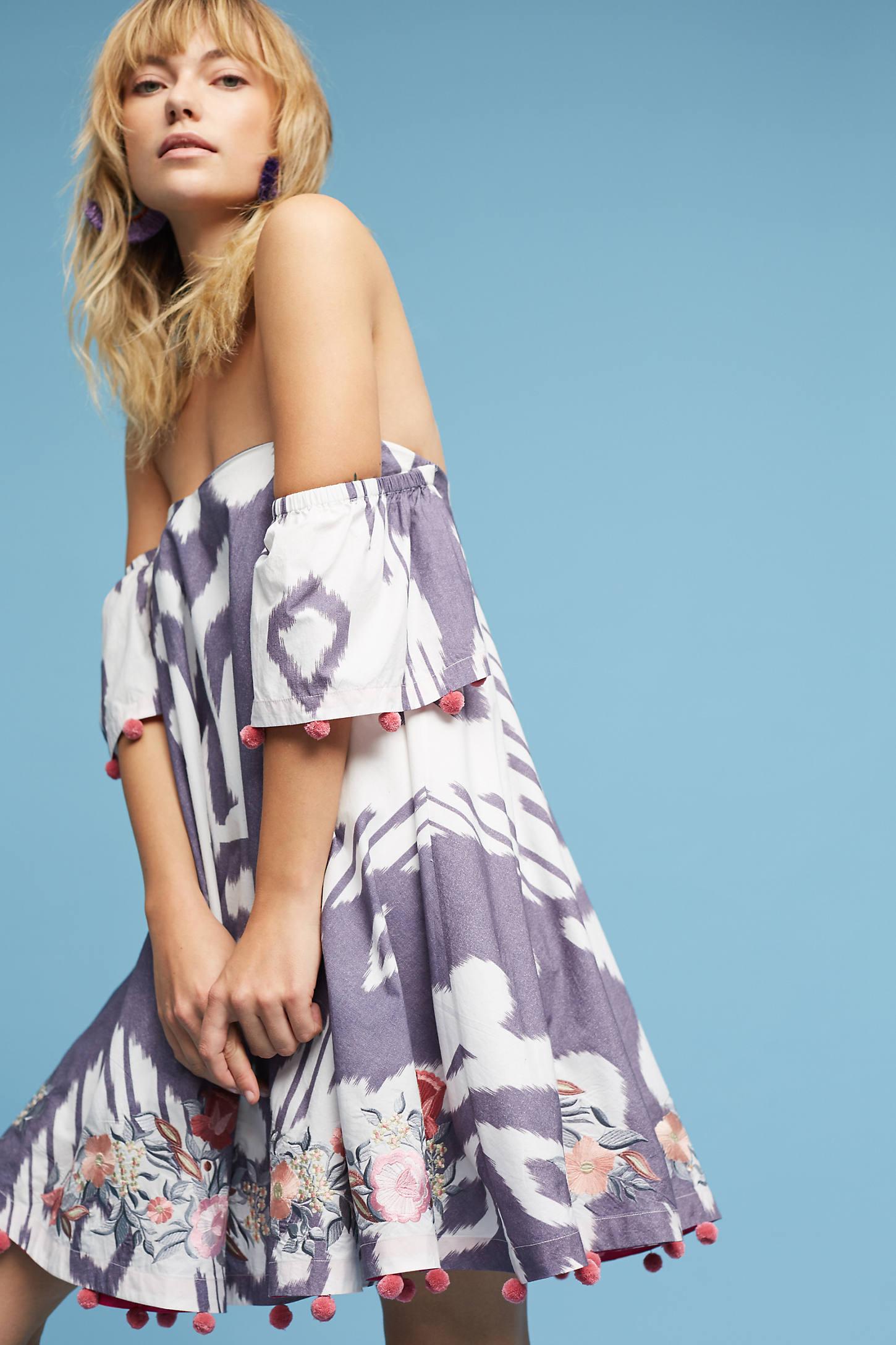 Off-The-Shoulder Ikat Dress