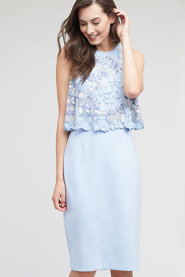 Monet Lace Midi Dress, Blue - Sky, Size Uk 10