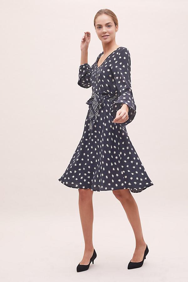 Harley Cosmos-Print Silk Dress - Black, Size L