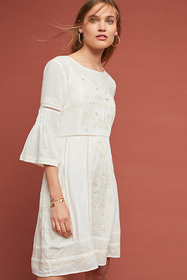 Tunic Laced Dress - White, Size S