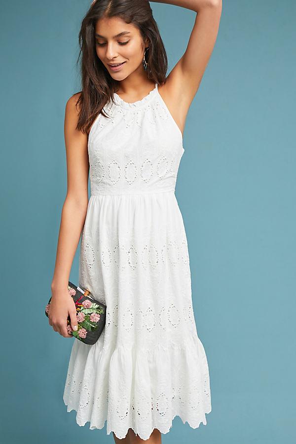 Tiered Eyelet Midi Dress - White