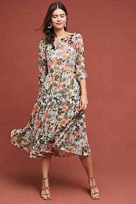 Slide View: 1: Espalier Embroidered Tunic Dress