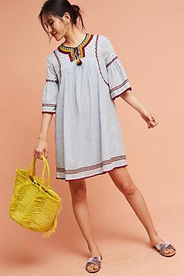 Slide View: 1: Yarn Embellished Tunic Dress