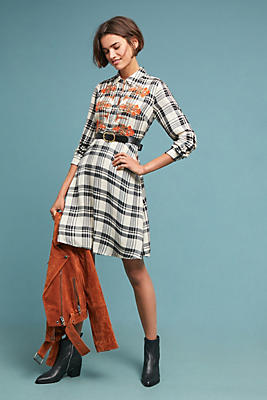 Slide View: 1: Embroidered Plaid Shirtdress