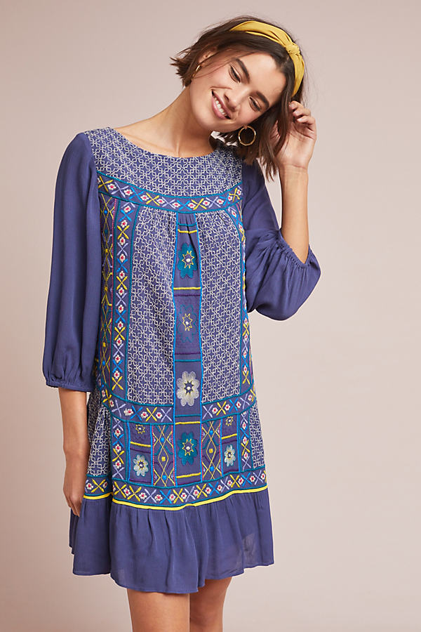 Patna Embroidered Tunic Dress - Blue, Size Uk 6