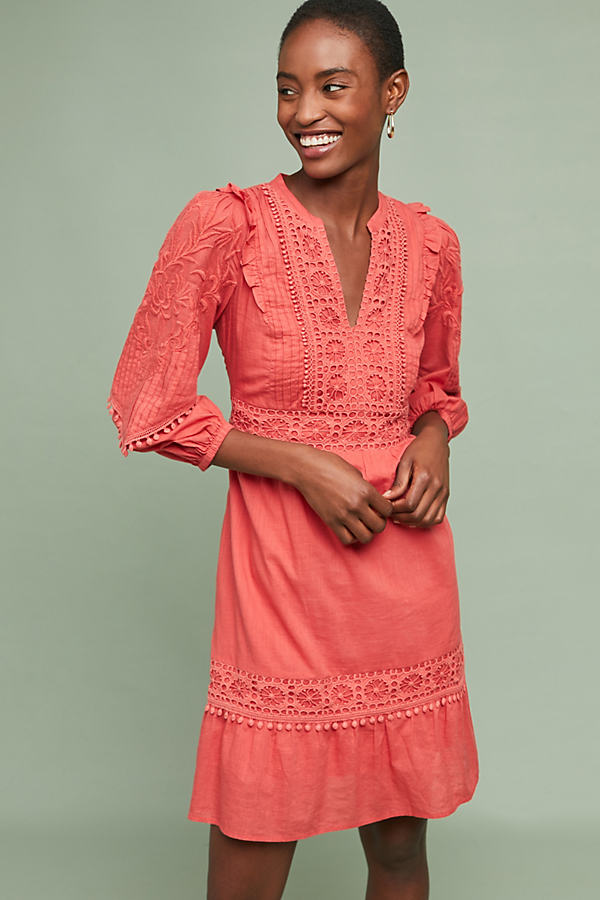 Josephine Embroidered Dress - Orange, Size M Petite