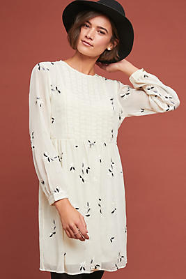 Slide View: 1: Feuille Embroidered Tunic Dress