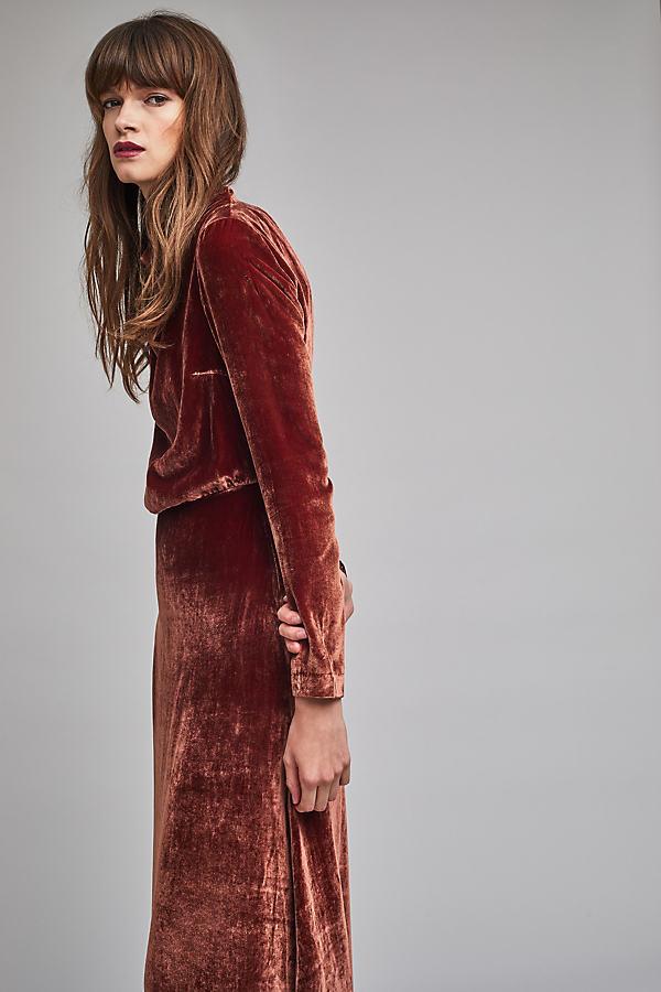 Julia Velvet Maxi Dress, Wine - Wine, Size S