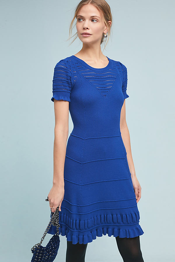 Promenade Crochet Dress - Blue, Size M