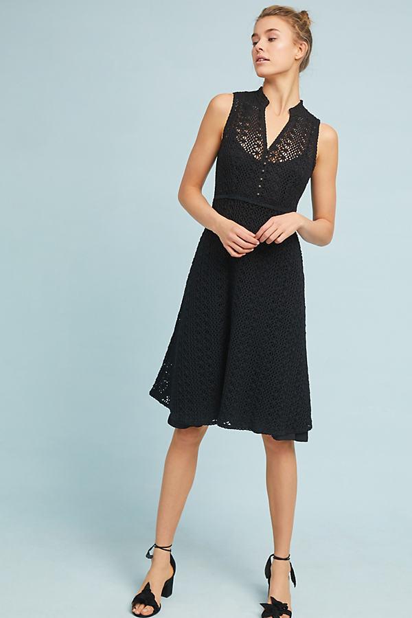 Evelyn Crochet Dress - Black, Size Uk 8