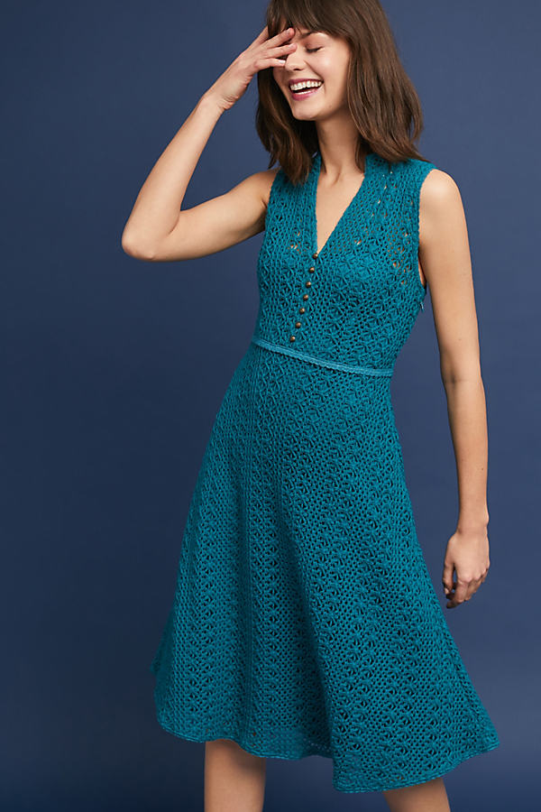 Evelyn Crochet Dress - Turquoise, Size Uk 10