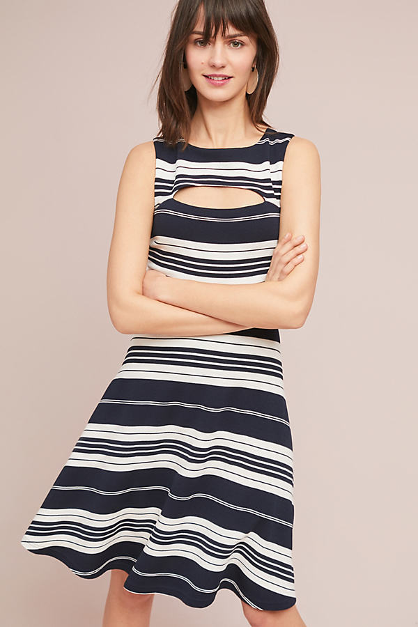 Riley Striped Knit Dress - Navy, Size Uk 14