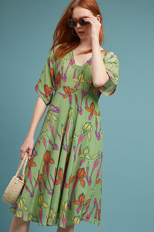 Raina Kimono Dress, Green - Lime, Size S