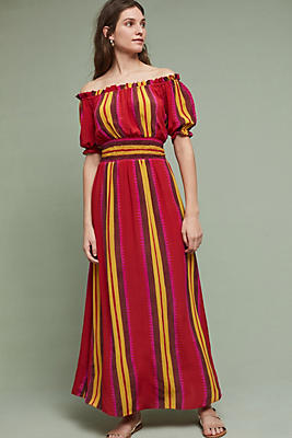 Tesni Silk Maxi Dress, Red | Anthropologie