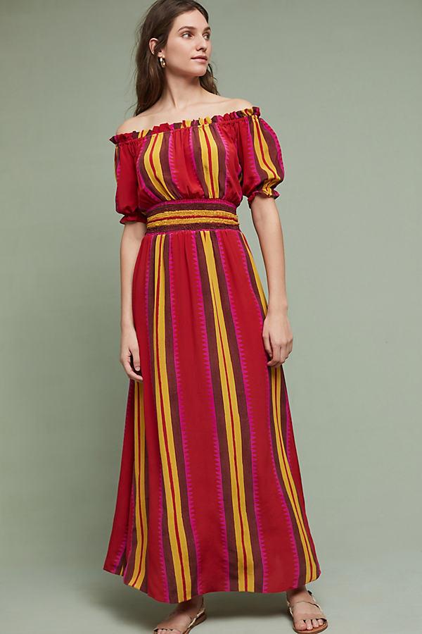 Tesni Silk Maxi Dress, Red - Red Motif, Size L